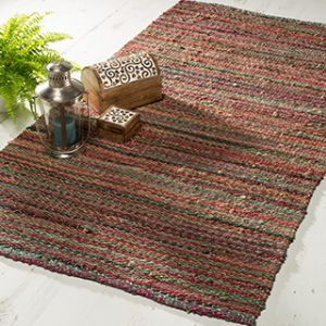 R3769 - Rugs ~ Multi stripe heavy handloom rug, 100% jute, 180 x 270cm ~ Fair trade through Folio Gothic Hippy